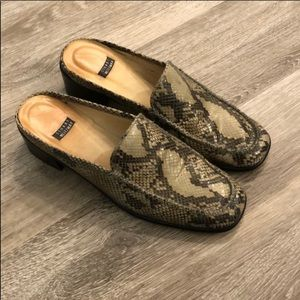 Shoes - Stuart Weitzman Snake Print Mule 8.5